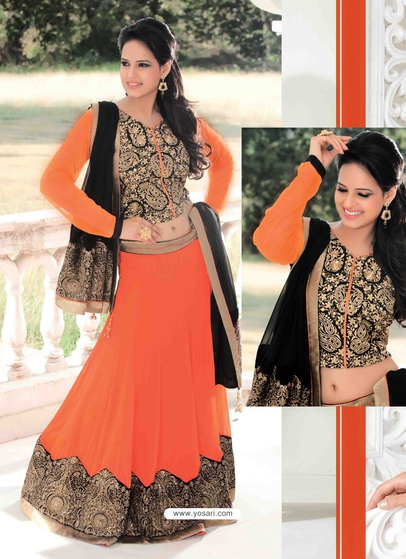 Orange Georgette Designer Lehenga Choli