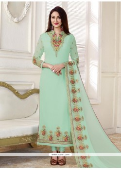 Aqua Blue Faux Georgette Designer Straight Suit