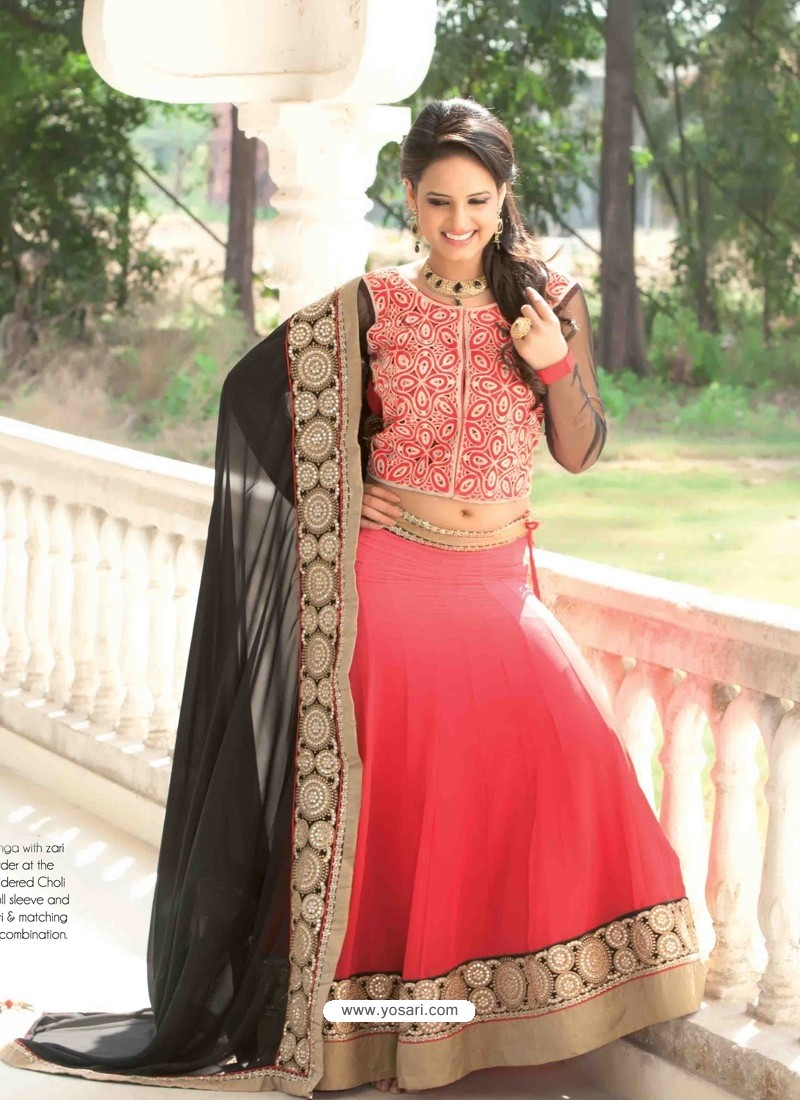 Pink And Black Georgette Designer Lehenga Choli