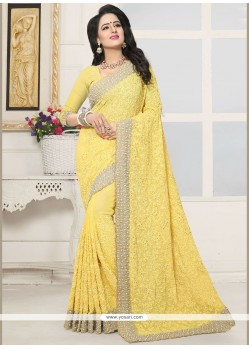 Stone Faux Georgette Designer Saree In Yellow