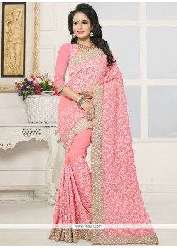 Faux Georgette Pink Designer Traditional Saree