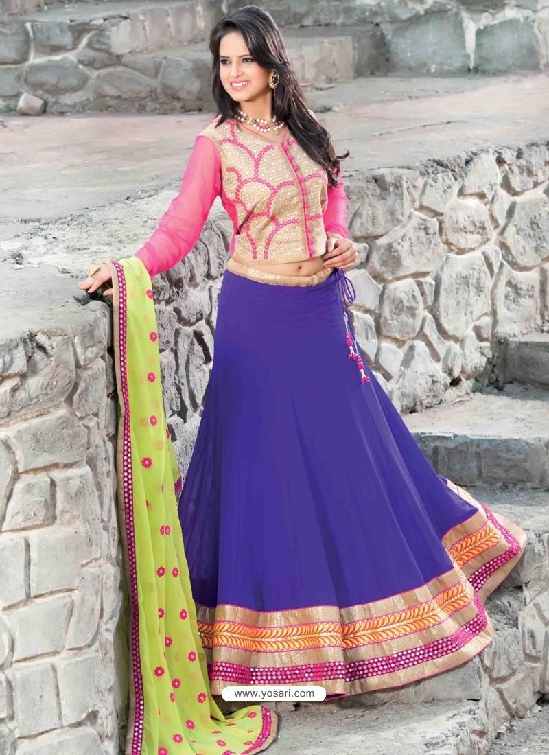 Navy Blue And Pink Georgette Designer Lehenga Choli