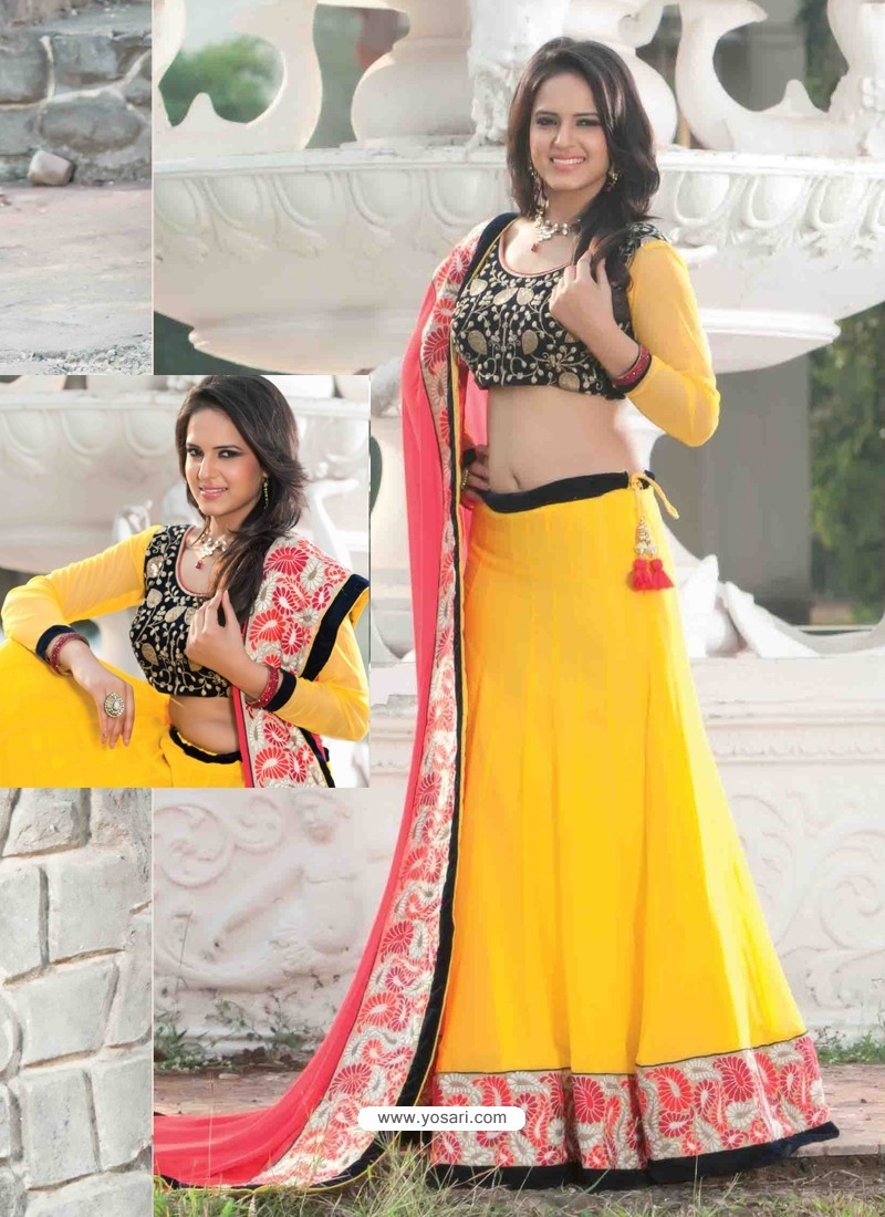 Yellow Georgette Designer Lehenga Choli