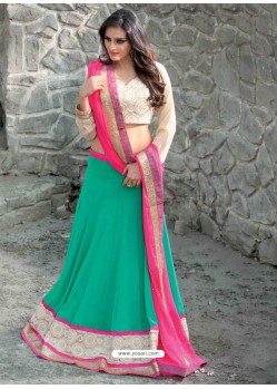 Cream And Green Georgette Designer Lehenga Choli