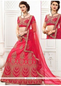 Art Silk Pink Resham Work Lehenga Choli
