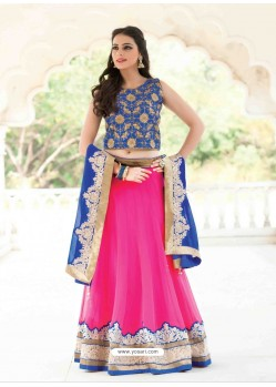 Pink And Blue Georgette Designer Lehenga Choli