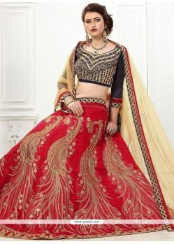 Art Silk Red Resham Work Lehenga Choli