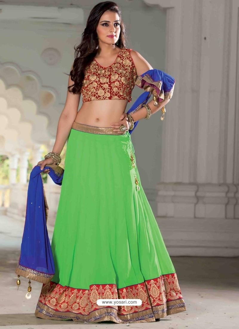 Green Georgette Designer Lehenga Choli