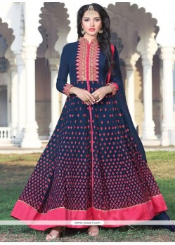 Navy Blue Resham Work Floor Length Anarkali Suit