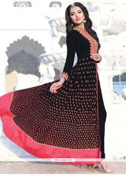 Faux Georgette Black Embroidered Work Floor Length Anarkali Suit