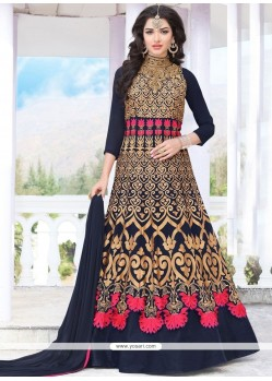 Resham Work Faux Georgette Navy Blue Floor Length Anarkali Suit
