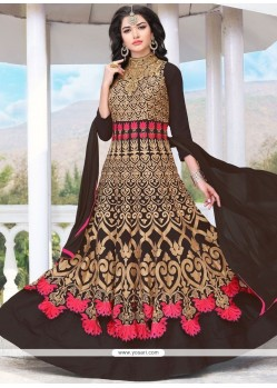 Resham Work Black Faux Georgette Floor Length Anarkali Suit