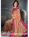 Astonishing Cream And Brown Shaded Georgette Saree
