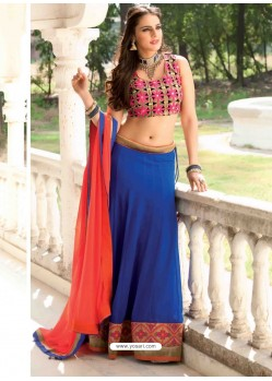 Blue Georgette Designer Lehenga Choli