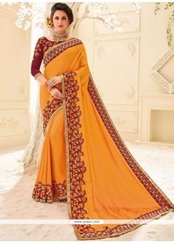 Art Silk Orange Embroidered Work Designer Traditional Saree