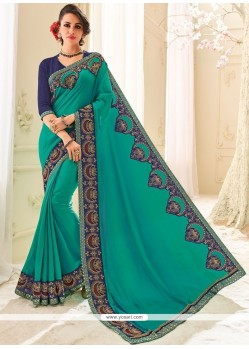 Sea Green Patch Border Work Art Silk Classic Designer Saree