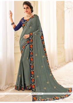 Grey Patch Border Work Faux Chiffon Classic Saree
