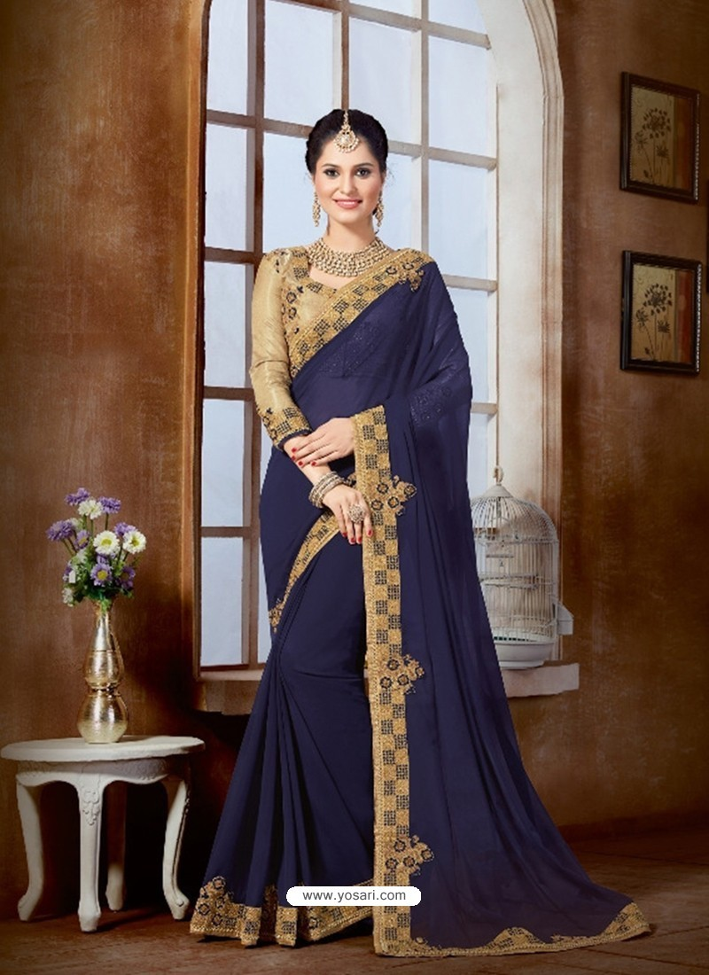 74436358940747 Buy Navy Blue Saree With Golden Lace And Embroidery Patch | Party ...