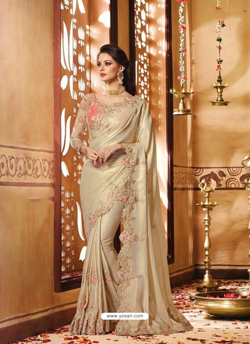 4960166f1d Buy Superb Designer Silk Golden Saree With Embroidery Work | Party ...