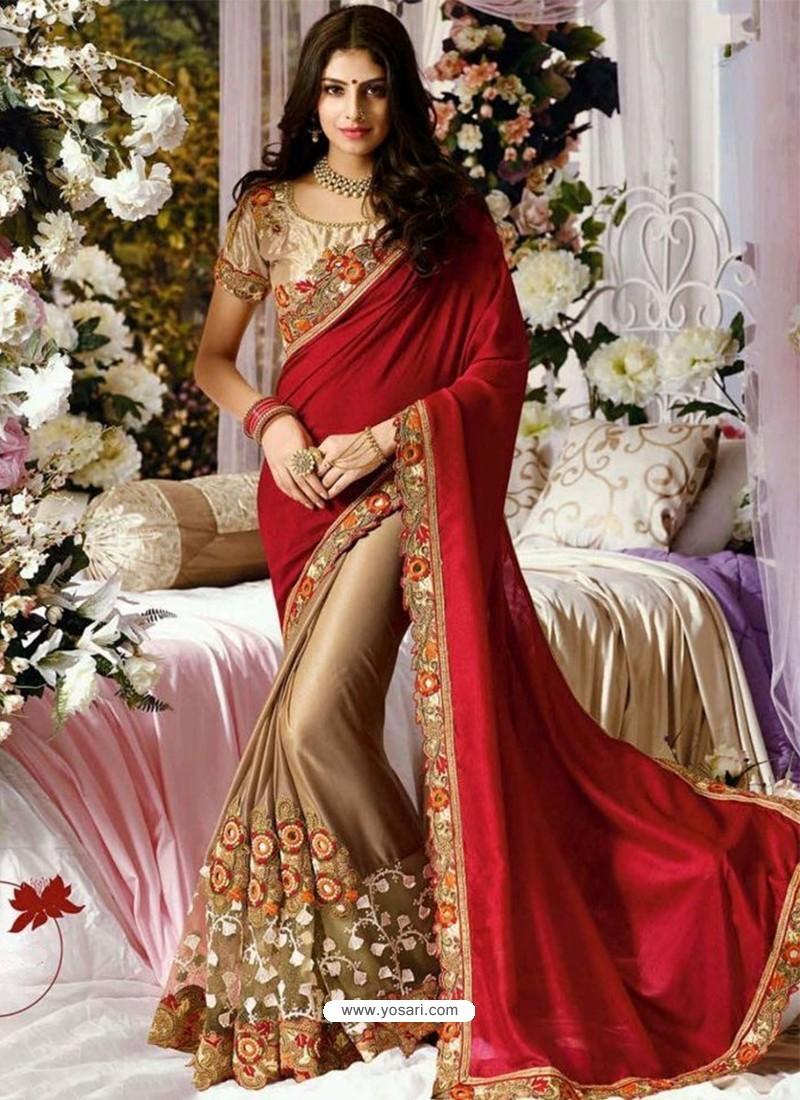e9f658efa54 Buy Classic Net Lace Designer Saree In Red