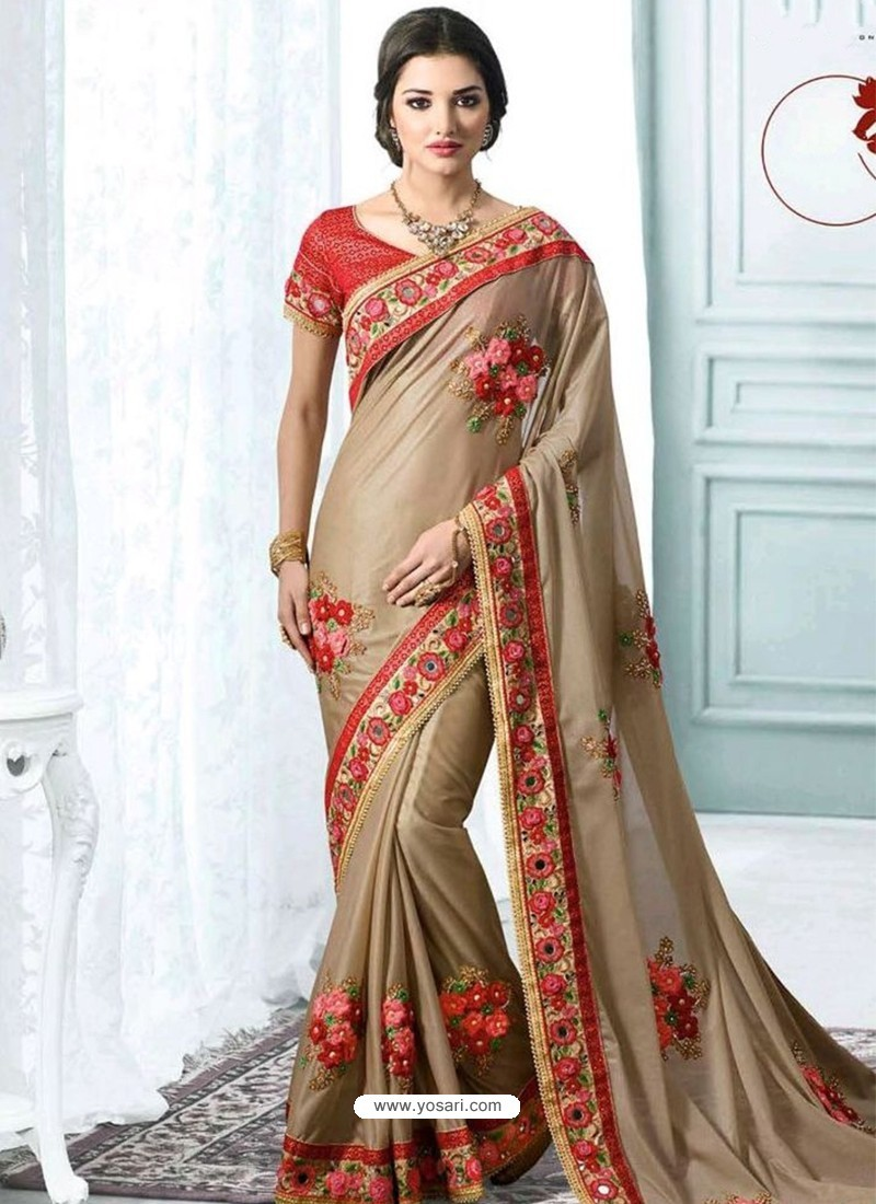 f873969ecc Buy Designer Brown Silk Saree With Embroidery Work   Party Wear Sarees