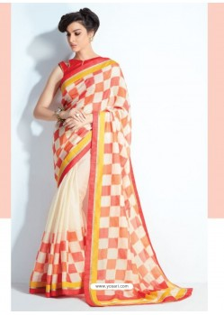 Beige And Orange Check Printed Saree