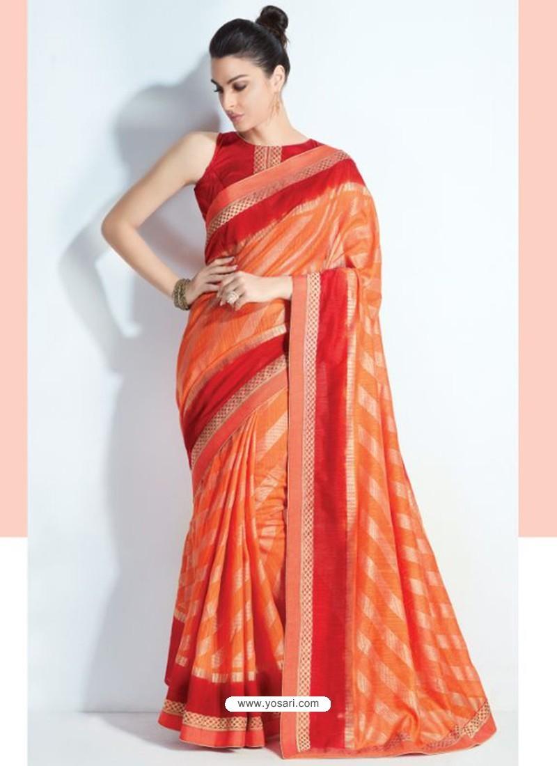 dddcd9b2038db Buy Brilliant Orange Printed Silk Saree