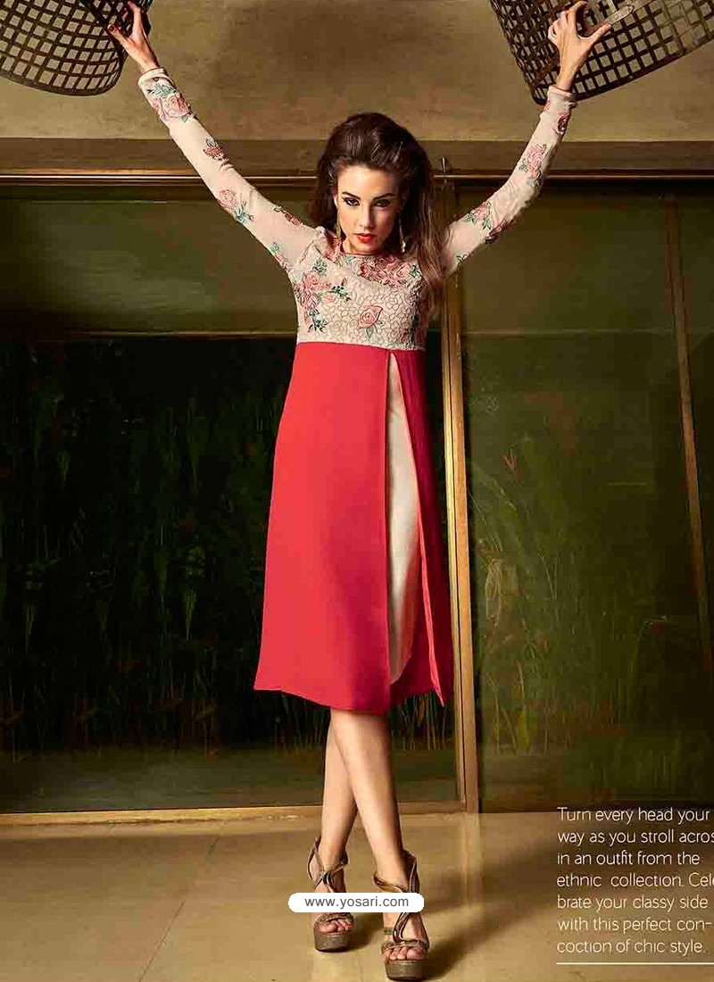 Red And Cream Color Georgette Kurti