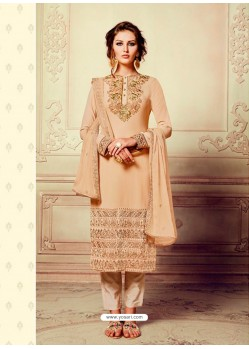 Beautiful Beige Georgette Embroidery Suit