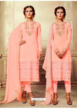 Peach Embroidered Georgette Suit