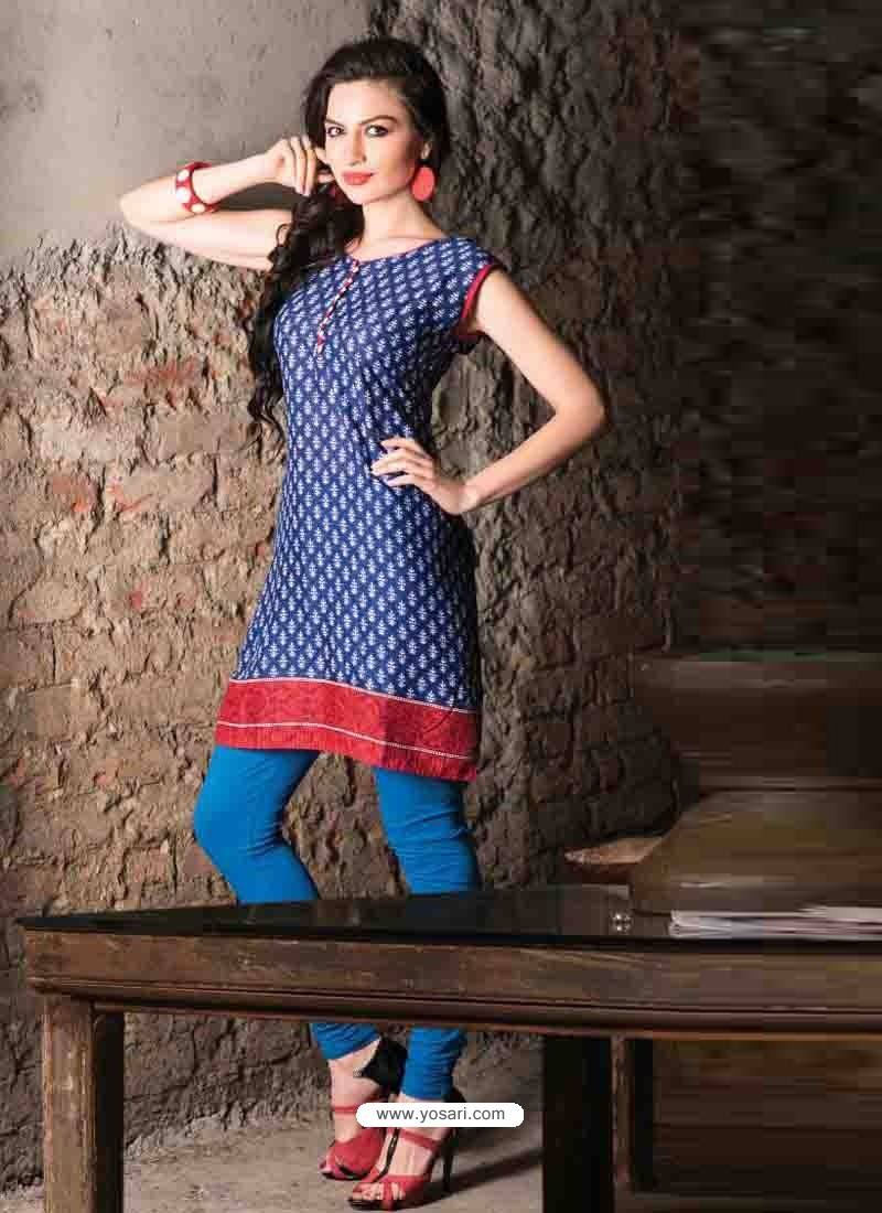 Blue Color Cotton Jacquard Kurti