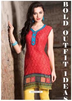 Red Color Cotton Jacquard Kurti