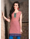 Red And Cream Color Cotton Jacquard Kurti