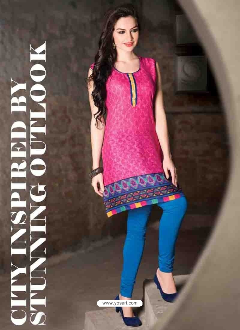 Pink Color Cotton Jacquard Kurti