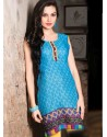 Sky Blue Color Cotton Jacquard Kurti