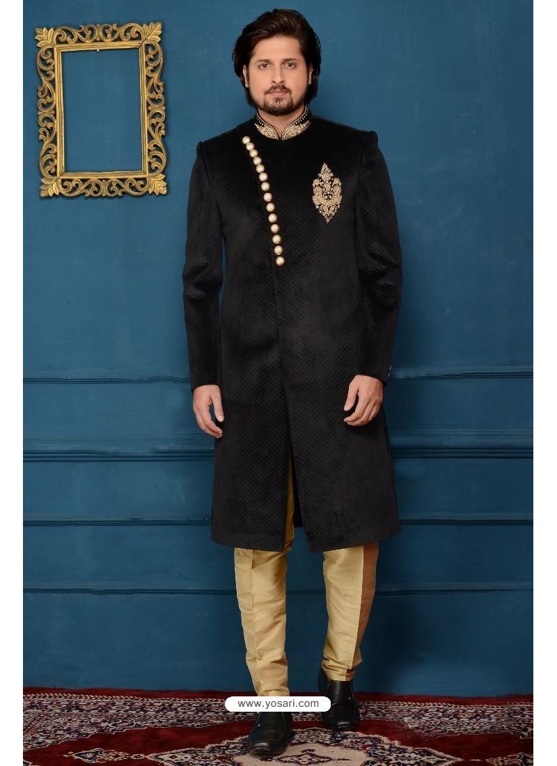 77cee0ff01 Buy Astonishing Black Jacquard Designer Sherwani   Sherwani