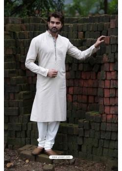 Off White Poly Cotton Designer Kurta Pajama