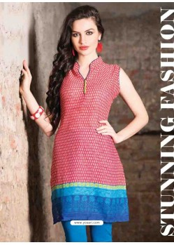 Red Color Cotton Jacquard Kurti