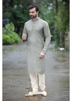Trendy Grey Digital Printed Kurta Pajama