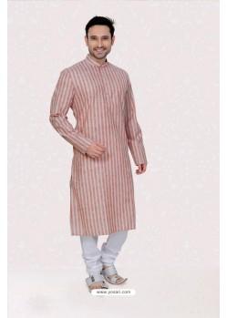 Stylish Red Poly Linen Kurta Pajama
