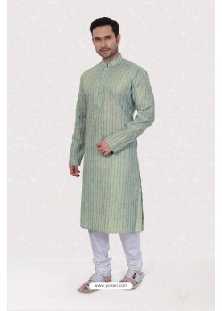 Excellent Green Poly Linen Kurta Pajama