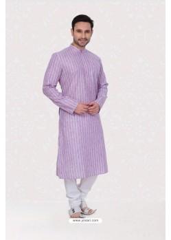 Classic Poly Linen Kurta Pajama In Purple