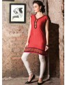 Orange Color Cotton Jacquard Kurti
