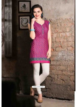 Pink Color Cotton Jacquard Kurti