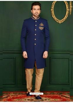 Blue Jacquard Embroidered Sherwani