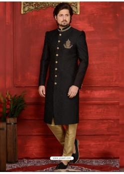 Classic Black Jacquard Designer Sherwani