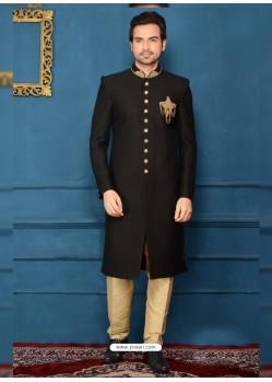 Heavenly Embroidered Black Jacquard Sherwani