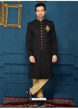 Stylish Black Designer Jacquard Sherwani