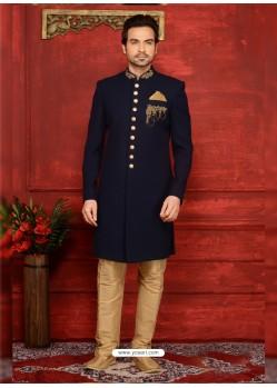 Trendy Navy Blue Jacquard Embroidered Sherwani