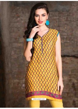 Mustard Color Cotton Jacquard Kurti